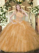 Exceptional Floor Length Ball Gowns Sleeveless Gold Sweet 16 Quinceanera Dress Zipper