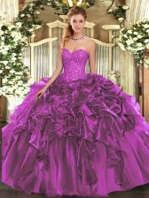 Custom Made Organza Sweetheart Sleeveless Lace Up Beading and Ruffles Quinceanera Dresses in Purple