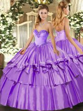 Stylish Floor Length Ball Gowns Sleeveless Lavender 15th Birthday Dress Lace Up