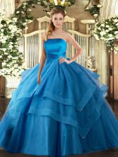 Floor Length Lace Up 15th Birthday Dress Baby Blue for Military Ball and Sweet 16 and Quinceanera with Ruffled Layers