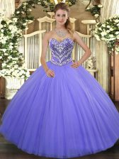 Elegant Floor Length Ball Gowns Sleeveless Lilac 15th Birthday Dress Lace Up