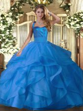 Enchanting Sleeveless Tulle Floor Length Lace Up Vestidos de Quinceanera in Blue with Ruffles