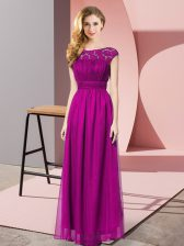 Floor Length Fuchsia Homecoming Dress Scoop Sleeveless Zipper