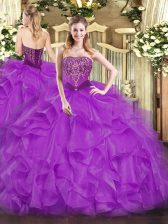 Amazing Ball Gowns Quince Ball Gowns Purple Strapless Organza Sleeveless Floor Length Lace Up