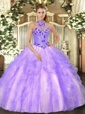 Spectacular Floor Length Ball Gowns Sleeveless Lavender Quinceanera Gowns Lace Up
