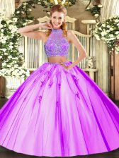 Custom Designed Lilac Two Pieces Halter Top Sleeveless Tulle Floor Length Criss Cross Beading Vestidos de Quinceanera