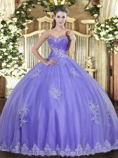 Lavender Sweetheart Neckline Beading and Appliques 15 Quinceanera Dress Sleeveless Lace Up