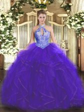 Dramatic Purple Halter Top Neckline Ruffles and Sequins Sweet 16 Quinceanera Dress Sleeveless Lace Up