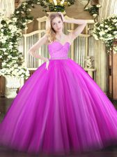 Fuchsia Zipper 15 Quinceanera Dress Beading and Lace Sleeveless Floor Length