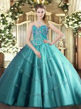Adorable Teal Ball Gowns Beading and Appliques Quince Ball Gowns Lace Up Tulle Sleeveless Floor Length