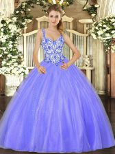 Lavender Ball Gowns Beading 15 Quinceanera Dress Lace Up Organza Sleeveless Floor Length