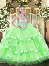 Noble Scoop Zipper Beading and Ruffled Layers Quinceanera Gowns Sleeveless