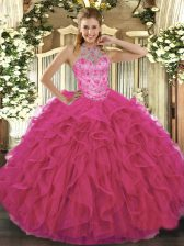 Hot Selling Hot Pink Halter Top Neckline Beading and Embroidery Quince Ball Gowns Sleeveless Lace Up