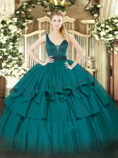 Glamorous Straps Sleeveless Organza Vestidos de Quinceanera Beading and Ruffled Layers Zipper