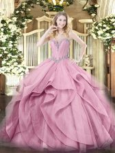 Sweetheart Sleeveless Lace Up Quinceanera Gowns Pink Tulle