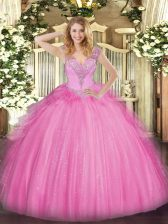 Vintage Tulle V-neck Sleeveless Lace Up Beading Ball Gown Prom Dress in Rose Pink