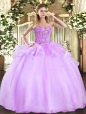 On Sale Floor Length Ball Gowns Sleeveless Lilac 15th Birthday Dress Lace Up
