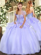 Lavender Organza Lace Up Strapless Sleeveless Floor Length Quinceanera Dress Appliques