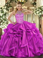 Adorable Sleeveless Organza Floor Length Lace Up Quince Ball Gowns in Fuchsia with Beading and Embroidery and Ruffles