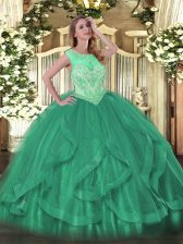 Colorful Sleeveless Floor Length Beading and Ruffles Lace Up Sweet 16 Dress with Turquoise