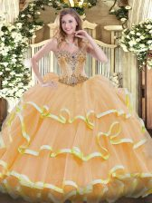 Adorable Floor Length Lace Up Sweet 16 Quinceanera Dress Gold for Sweet 16 and Quinceanera with Beading and Ruffles