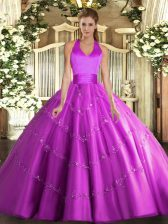 Popular Fuchsia Ball Gowns Halter Top Sleeveless Tulle Floor Length Lace Up Appliques Quinceanera Dress