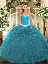 Teal Organza Lace Up Sweetheart Sleeveless Floor Length Ball Gown Prom Dress Appliques and Ruffles