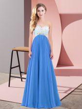 Blue Chiffon Criss Cross Prom Evening Gown Sleeveless Floor Length Beading