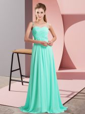 Custom Made Chiffon Spaghetti Straps Sleeveless Sweep Train Backless Ruching Prom Party Dress in Turquoise