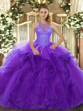 Vintage Purple Ball Gowns Organza High-neck Sleeveless Beading and Ruffles Floor Length Lace Up Quinceanera Gown