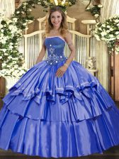 Hot Selling Blue Ball Gowns Strapless Sleeveless Organza and Taffeta Floor Length Lace Up Beading and Ruffled Layers Quinceanera Gown