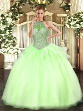 Custom Fit Yellow Green Ball Gowns Beading Vestidos de Quinceanera Lace Up Tulle Sleeveless Floor Length