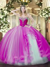Fuchsia Sleeveless Beading and Ruffles Floor Length Sweet 16 Dress