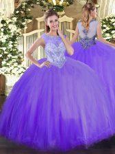 Latest Floor Length Ball Gowns Sleeveless Lavender Vestidos de Quinceanera Zipper
