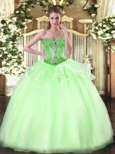 Pretty Apple Green Lace Up Sweetheart Beading Sweet 16 Dress Organza Sleeveless