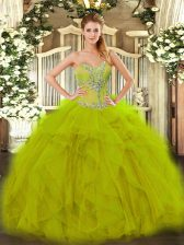 Olive Green Ball Gowns Organza Sweetheart Sleeveless Beading and Ruffles Floor Length Lace Up Quinceanera Gown