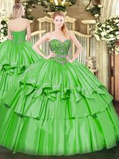 Fashionable Sleeveless Organza and Taffeta Floor Length Lace Up Quinceanera Dresses in with Beading and Ruffled Layers