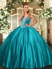 Fashion Teal Ball Gowns Beading Vestidos de Quinceanera Lace Up Satin Sleeveless Floor Length