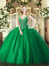 Free and Easy Green V-neck Lace Up Beading Quinceanera Gowns Sleeveless