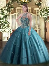 Traditional Teal Sweet 16 Quinceanera Dress Sweet 16 and Quinceanera with Beading Halter Top Sleeveless Lace Up