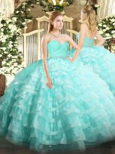 Aqua Blue Sleeveless Beading and Lace and Ruffled Layers Floor Length Quinceanera Gowns