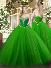 Green Ball Gowns Tulle Sweetheart Sleeveless Beading Floor Length Lace Up Quinceanera Gowns