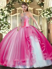 Exceptional Hot Pink Lace Up 15 Quinceanera Dress Beading and Ruffles Sleeveless Floor Length