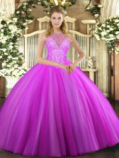 Fuchsia Vestidos de Quinceanera Military Ball and Sweet 16 and Quinceanera with Beading High-neck Sleeveless Lace Up