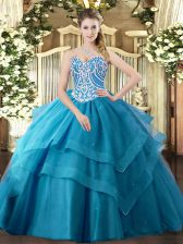 Deluxe Teal Tulle Lace Up Sweetheart Sleeveless Floor Length Quince Ball Gowns Beading and Ruffled Layers