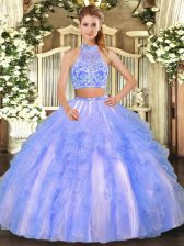Beading and Ruffled Layers Quince Ball Gowns Lavender Criss Cross Sleeveless Floor Length