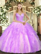 Beading and Ruffles 15 Quinceanera Dress Lilac Lace Up Sleeveless Floor Length