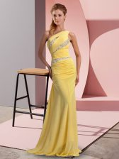 Hot Sale Floor Length Yellow Evening Dress Chiffon Sweep Train Sleeveless Beading