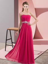 Ideal Hot Pink Tulle Zipper V-neck Sleeveless Floor Length Prom Evening Gown Lace