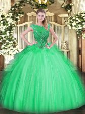 Apple Green Sweet 16 Dress Sweet 16 and Quinceanera with Beading and Ruffles Scoop Sleeveless Zipper